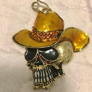 Jewelry - NWOT Gold Tone Cowboy Skeleton Necklace